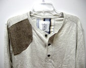 Mens Cotton Long Sleeve Shirt with Brown Wool Patch Size X Large for Men from the Paul McCall Line