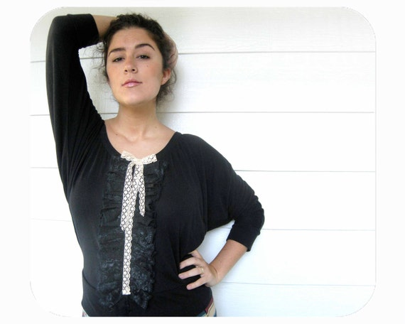 Black Shirt Ruffle for Women Black Lace and Cream Trim and Bow for Women from the E W McCall Line