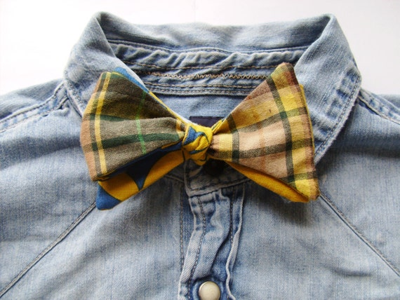 Mens Cotton Bow Tie Blue, Yellow, and Green from the Paul McCall Line for Men