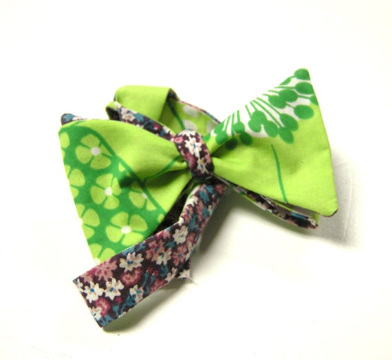 Boys Modern Reversible Cotton Bow Tie featuring Floral Fabric Fully Adjustable from the John RIchard Line for Boys