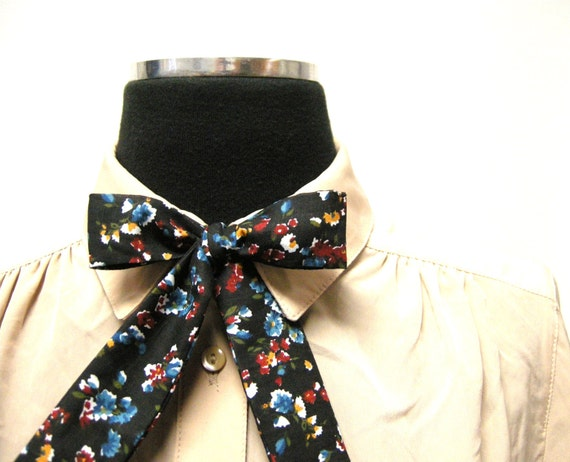 Black Cotton Floral Bow Tie for Women by E W McCall