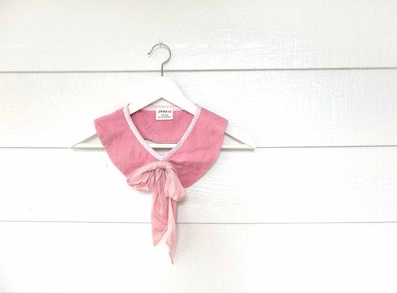 Hand Dyed Pink Peter Pan Collar with Bow for Women and Girls