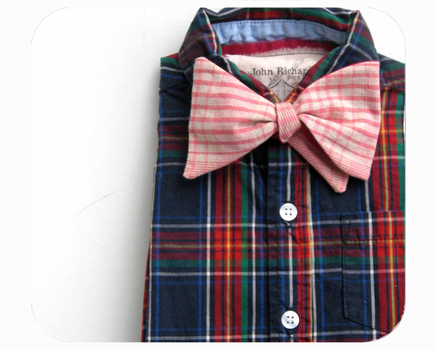 boys shirt plaid with modern bow tie size 24 months from the