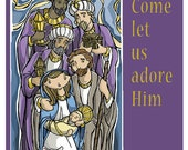 Three Wise Men and Holy Family Christmas Card