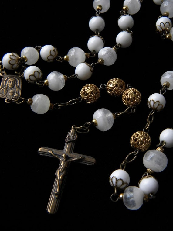 Handmade Rosary in White and Antique Gold