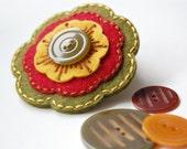 Embroidered Hair Clip- Autumn Hues