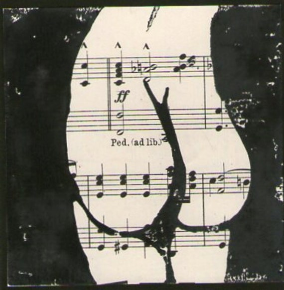 SALE Play Me, Original Linocut Printed on Antique Sheet Music, Nude Back Inspired By A Dancer's Form