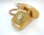 Vintage Rotary Dial Phone - Retro Beige - Works Great