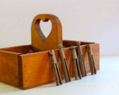 50 Rustic Antique Clothespin Hangers and Vintage Wood Box Caddy Holder with Handle for Farmhouse Laundry Linen.
