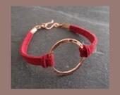 Karma Bracelet, Friendship, Love Token Bracelet -  faux suede and pure copper- choice of colours