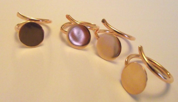 5 x Pure Copper Flat pad ring blank- findings