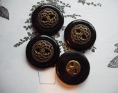 4 VINTAGE SMALL GOTHIC BLACK AND GOLD TONE BUTTONS - detailed and decorative