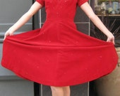 Vintage 1950s Rockabilly Party Dress XS S 2 4  Red Off Shoulder w Rhinestones Tea Length