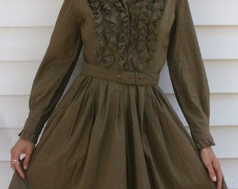 Vintage 1950s Military Ruffles Circle Skirt Dress XS S  ROCKABILLY Ruffle Bodice and Trim Dress