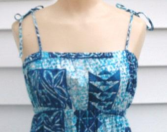 Vintage 70s Batik Hawaii Dress Sundress XS 0 2 Maxi Boho Luau