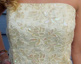 Vintage GUNNE Sequins Strapless Prom Partyl Dress S 4 6 Ivory WEDDING gown
