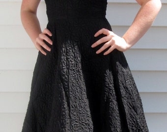 Vintage 1950s Black Textured Floral Embossed Swing Dress XS 2