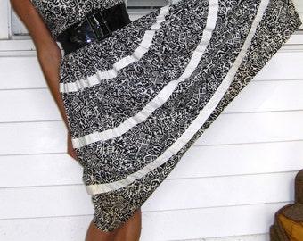 Vintage 1950s Cotton Tiki Rockabilly Dress XS 0 2 ETHNIC Tiki Tribal Full Circle Skirt Sleeveless Sundress Swing2