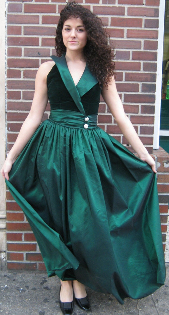 Vintage Off Shoulder Green Maxi Dress XS S 2 4 Party Cocktail Gown