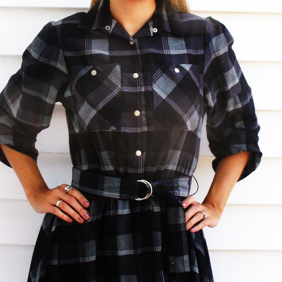 reserved for DRAPER Vintage 1950s Style Western Plaid Full Skirt Swing Dress S M 4 6 8
