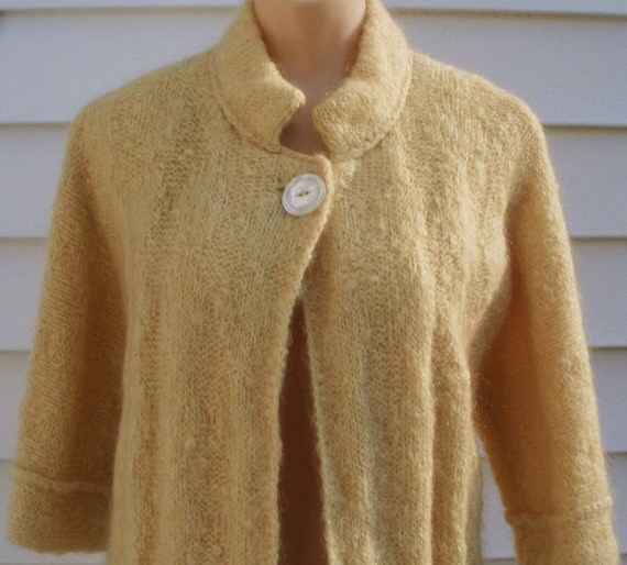 Vintage 1950s Yellow Mohair Knit Swing Coat XS S