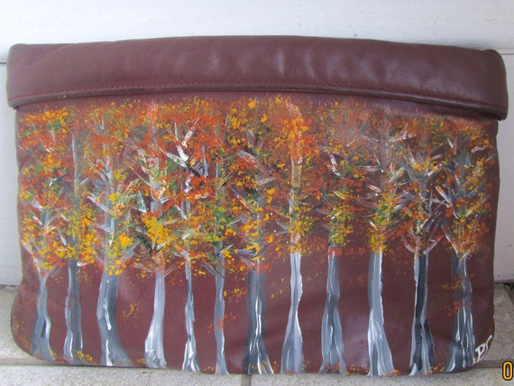 Vintage Upcycled AIGNER Handpainted Clutch Purse Bag Fall Leaves Original Art by Patti Stanley