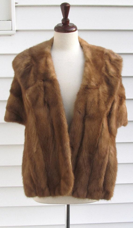 Vintage 1950s Mink Cape Jacket Capelet XS S M One Size Light Brown