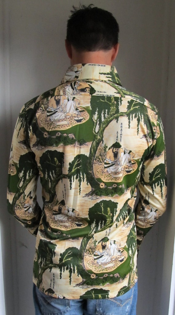 Vintage MENS Asian Print Disco Shirt M Medium 1970s Incredible Asain Print