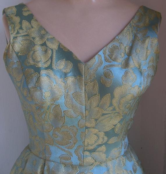 Vintage 1950s Blue Gold Metallic Brocade Party Dress XXS XS 00 0