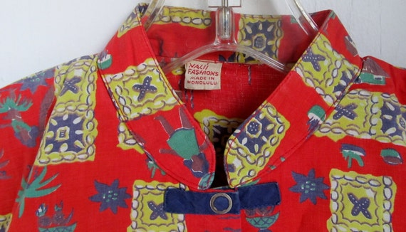 Vintage 1940s NOS Nalii Hawaii Atomic Cotton Shirt S M