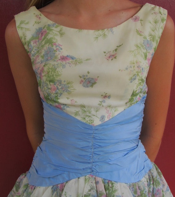 Vintage 1950s Floral Bubble Hem Cocktail Party Dress XS 0