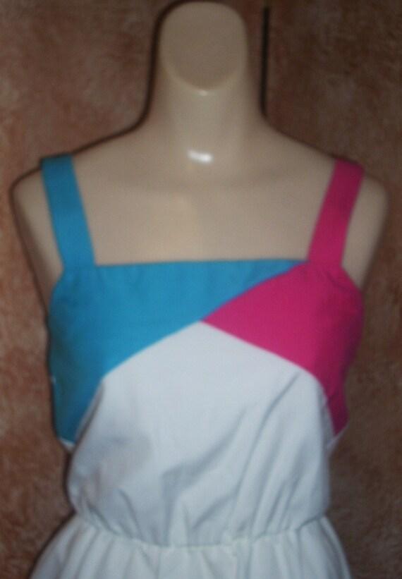 Vintage 1980s Cotton Circle Skirt Sundress Dress XS S 2 4