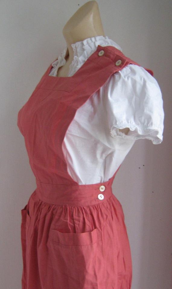 Vintage 50s Nurse Jumper Dress 1950s Rose Pink Cotton By