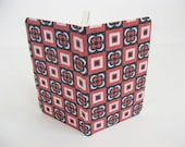 Mini Notebook / Journal covered in geometric floral patterned paper. Compare to moleskine notebooks