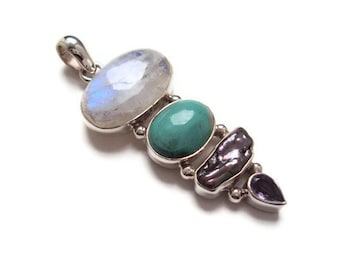 Moonstone, Turquoise, Biwa Pearl and Amethyst Pendant, Sterling Silver Pendant, Natural Gemstone Jewelry Supply