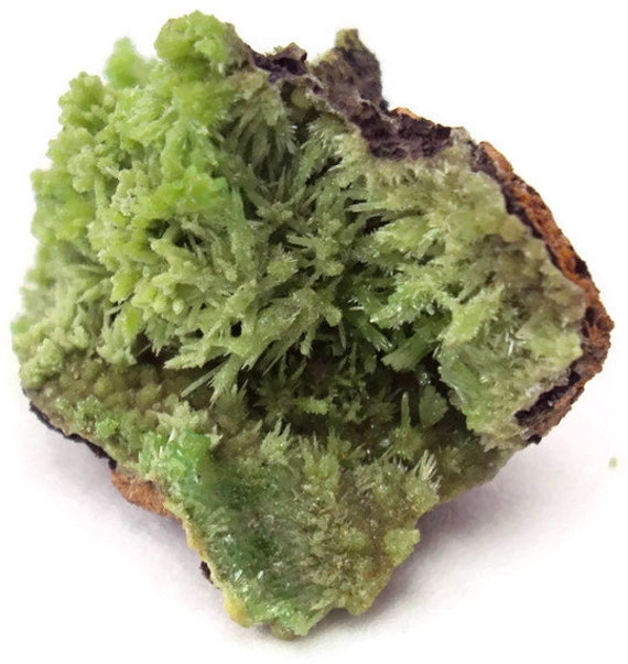 Pyromorphite Crystal Cluster on Matrix, Rough Stone, Apple Green Specimen from Daoping Mine, Guangxi, China