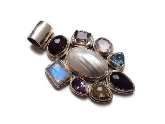 Large Multi-Gemstone Sterling Silver Pendant, Moonstone, Amethyst, Citrine, Iolite, Aquamarine, Rose Quartz, Topaz & Pearl, 38.8 grams OOAK