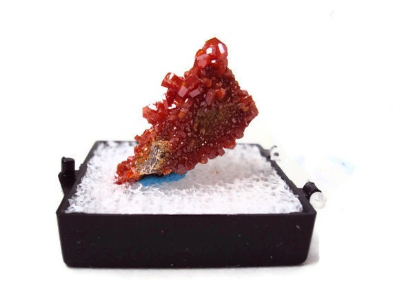 Vanadinite Specimen on Matrix, Rough Mineral, Natural Rock, Metaphysical, Reiki Healing, New Age, Jewelry Supplies, 8.2 grams, Case Included
