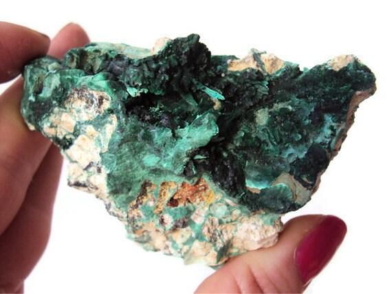 Rough Malachite Velvet Malachite Stone On Matrix Green
