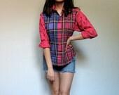 Vintage Plaid Shirt Women Button Up Shirt 80s Kitsch Color Block Shirt Collared Hot Pink Fall Fashion - Small. Medium. S/ M