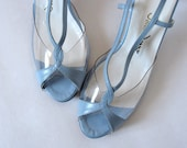 Vintage 70s Kitten Heels Pastel Baby Blue Shoes Spring Fashion