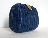Straw Navy Purse Clutch Chain Shoulder Bag 80s Summer Fashion