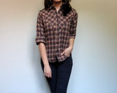 Levis Plaid Shirt Western Collar Button Up Brown Fall Fashion Cotton Flannel Shirt - Extra Small. Small XS/ S - MidnightFlight