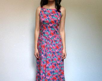 Floral Dress Pockets Vintage Women 80s Midi Criss Cross Long Summer Dress Sundress - Small S