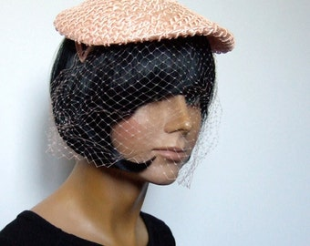 Vintage 60s Hat Straw Flat Cap Pale Pink Head Piece