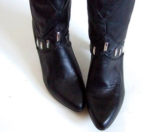 Vintage sz 7.5 8 Black Boots Faux Leather Studded Boots Heels Tall Boots High Heel Boots