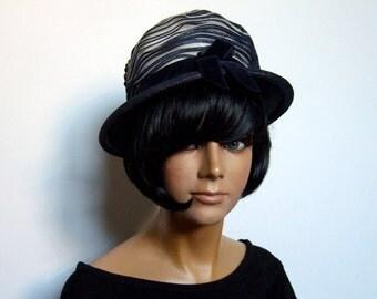 1960s Hat White Navy Vintage 60s Derby Hat for Women Spring Summer
