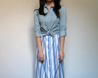 Striped Skirt Blue White Knee Length 70s Vintage Simple Summer Skirt - Medium M