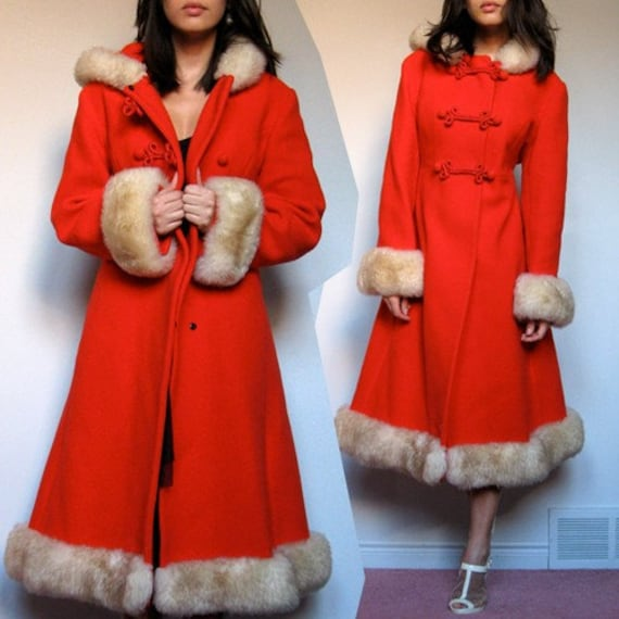 Vintage red Russian Princess Dress Coat wool Fur by MidnightFlight