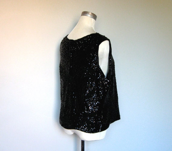 Sequin Top 60s Vintage Black Shell Party Shirt Beaded 1960s Sleeveless Tank - Large Extra Large L XL